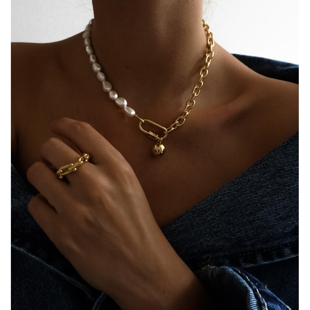 Naszyjnik złoty łańcuch  z perłami  NRG0148