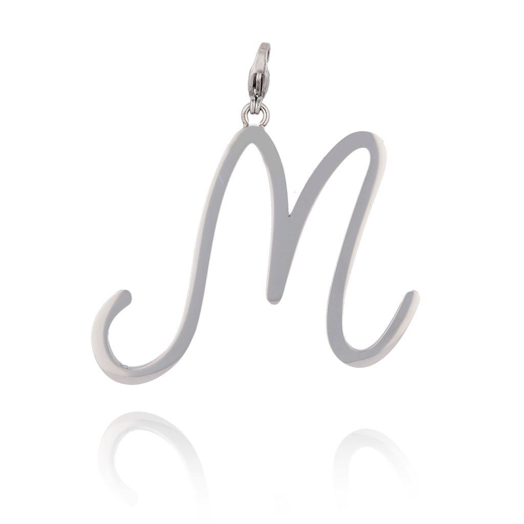 Zawieszka ze stali szlachetnej srebrna literka M Alphabet NAT0042