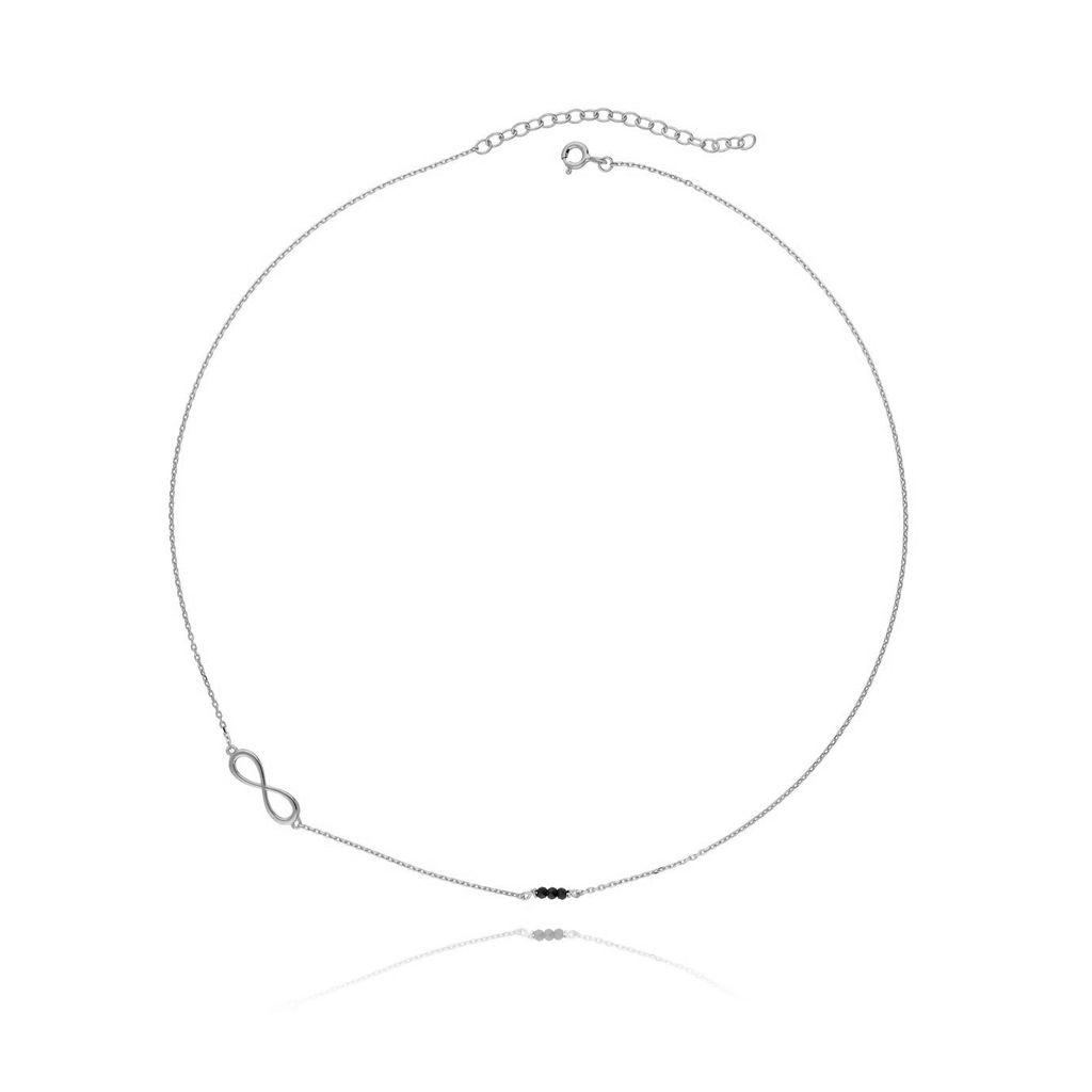 Naszyjnik srebrny nieskończoność z kryształkami NSE0010