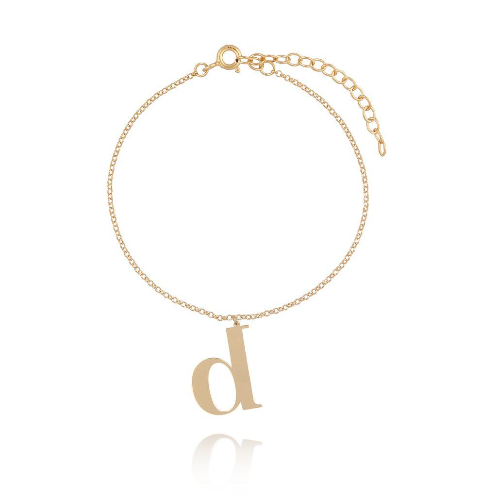 Bransoletka srebrna pozłacana z literką B lub D BAT0043