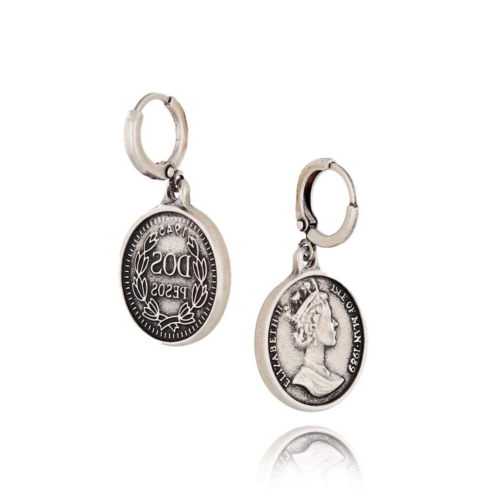 Kolczyki srebrne monety KRG0492