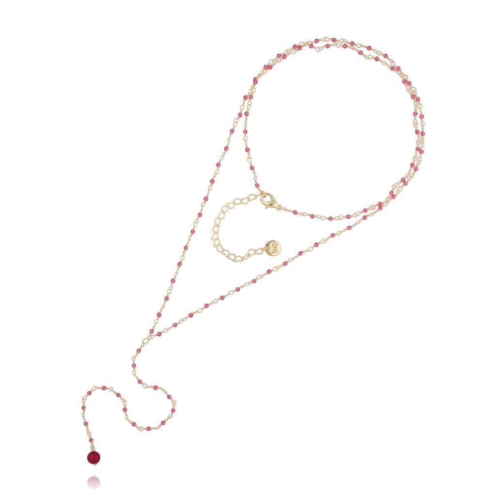 Naszyjnik różaniec z kryształkami i fuksjowym tygrysim okiem NOA0053