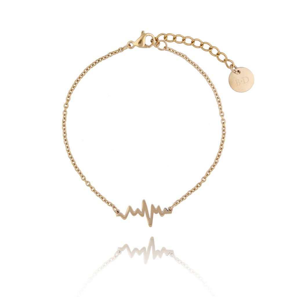 Bransoletka złota z linią życia ze stali szlachetnej BSA0104