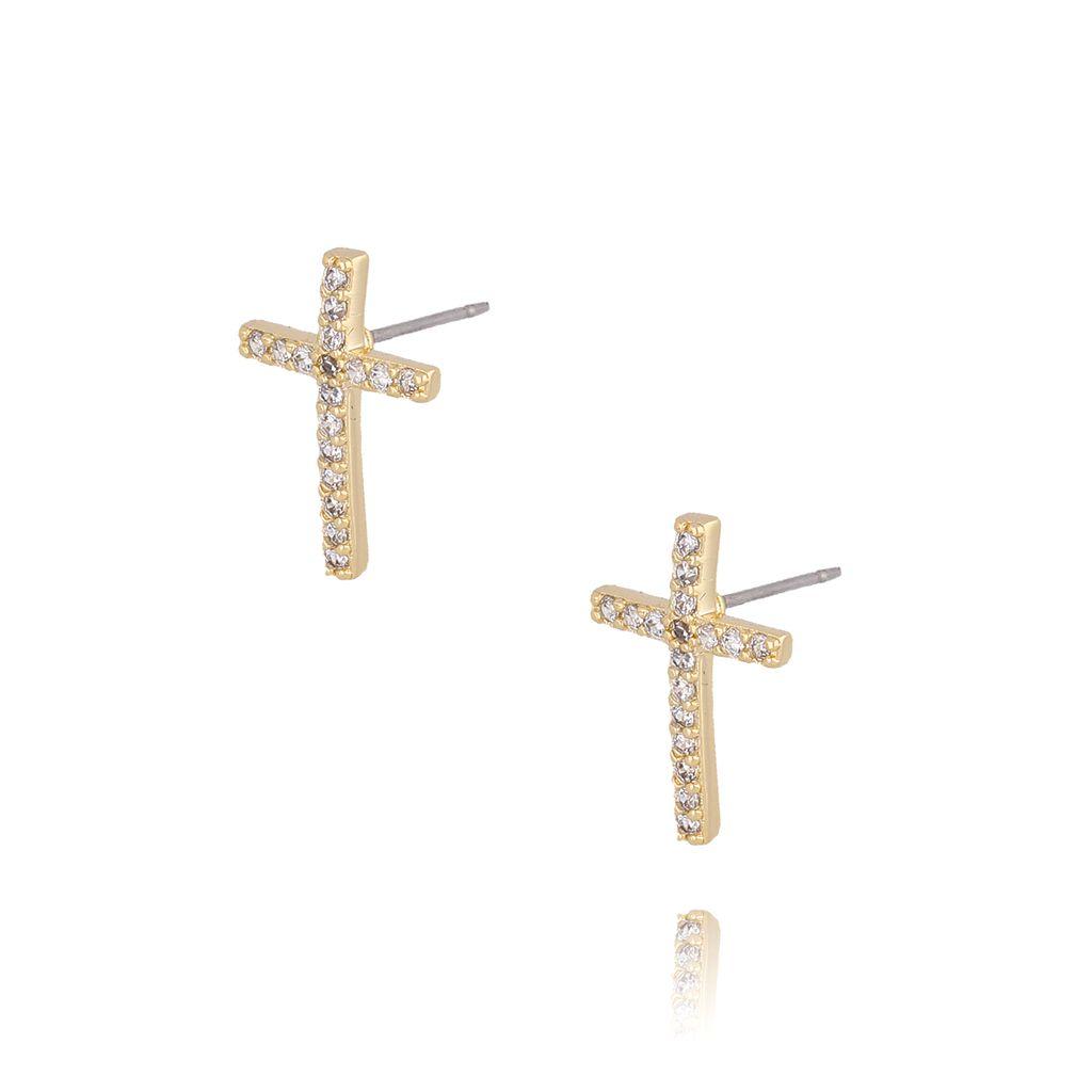 Kolczyki złote z transparentnymi cyrkoniami KRG0565