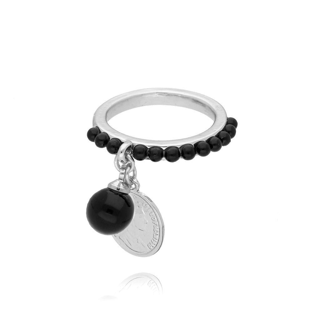 Pierścionek ze srebrną monetką i czarnymi kryształkami PRG0105 rozmiar 15