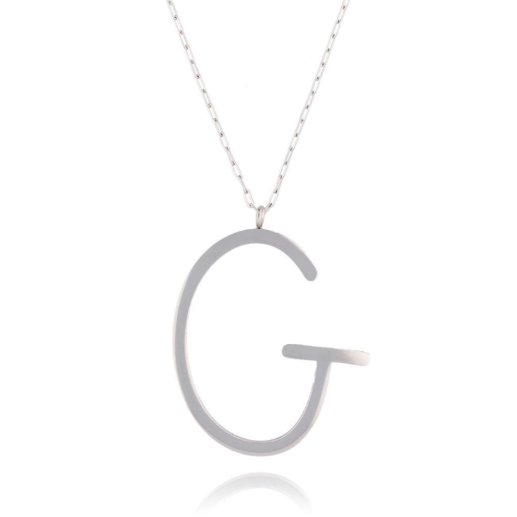 Naszyjnik ze stali szlachetnej srebrny literka G  Alphabet NAT0005