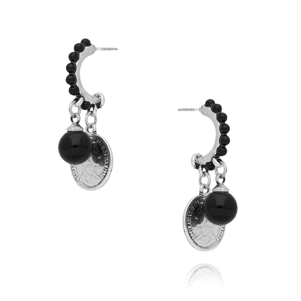 Kolczyki ze srebrnymi monetkami i czarnymi perełkami KRG0542
