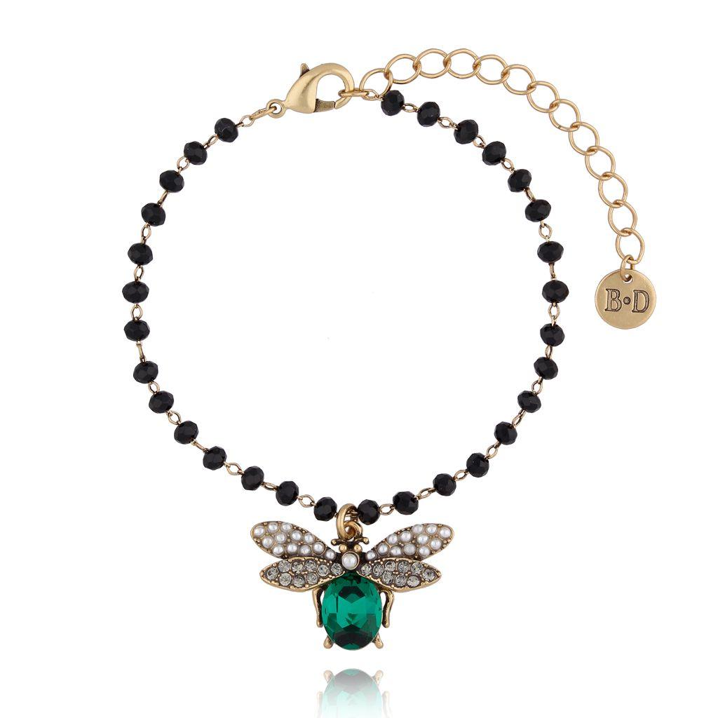 Bransoletka z zielonym owadem z kryształkami BMI0042
