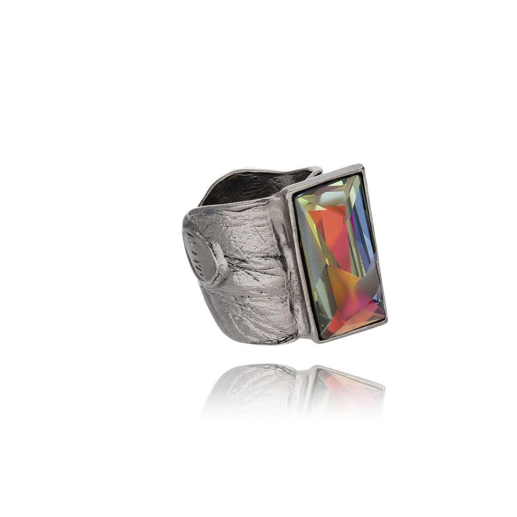 Pierścionek MOTYLE Skin To Skin z kolorowym kryształem PMO0027