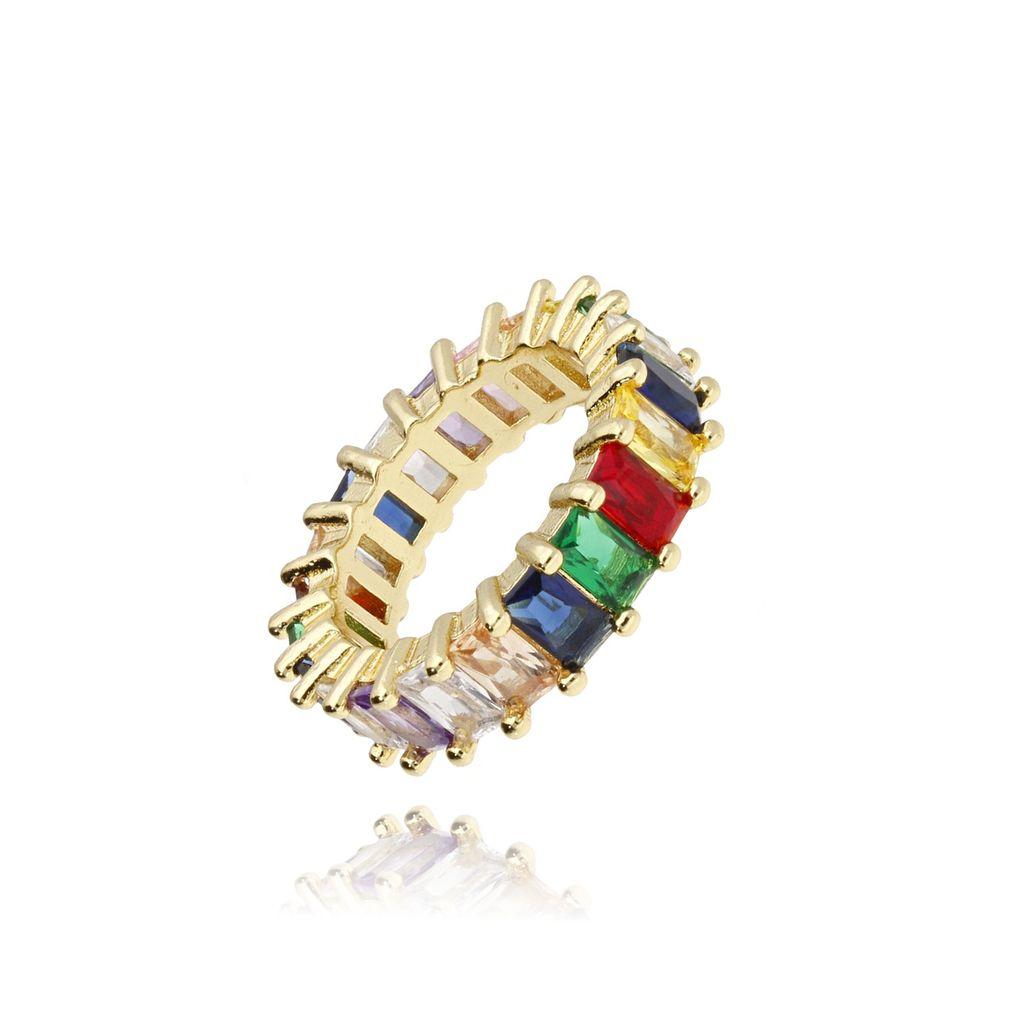 Pierścionek złoty z kolorowymi kryształkami PRG0089 rozmiar13