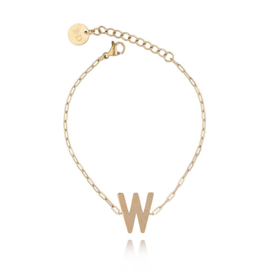 Bransoletka złota z literką W BAT0108