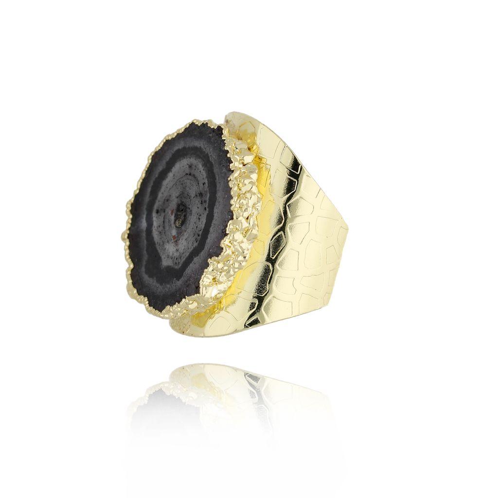 Pierścionek z czarnym agatem PPA0001