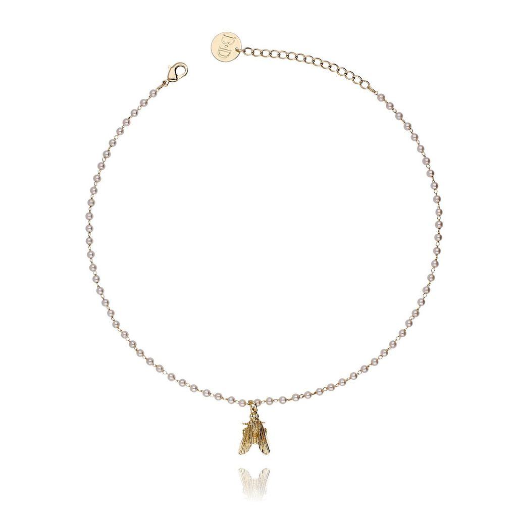 Naszyjnik ze złotą z muchą i perełkami NMI0024