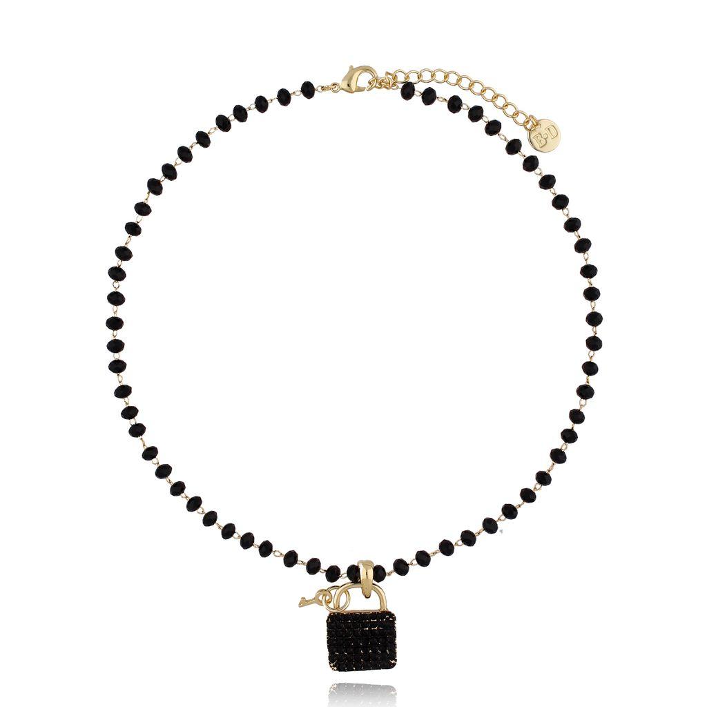 Naszyjnik złoty z kryształkami i kłódką NRG0277