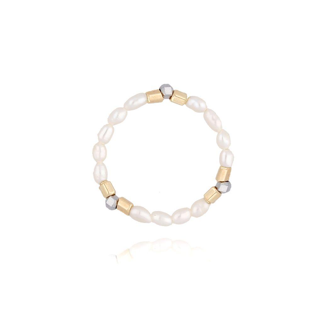 Pierścionek elastyczny z hematytami i perłami PTW0055