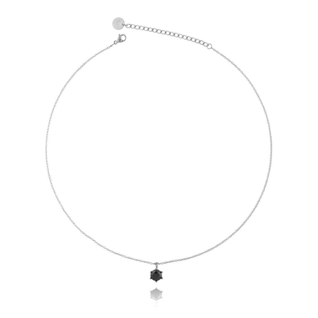 Naszyjnik srebrny z kryształkiem ze stali szlachetnej NSA0114