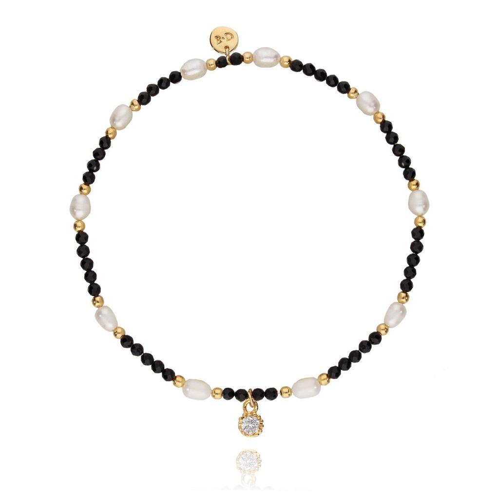 Bransoletka z onyksów z perełkami i szklanym kryształkiem BTW0129