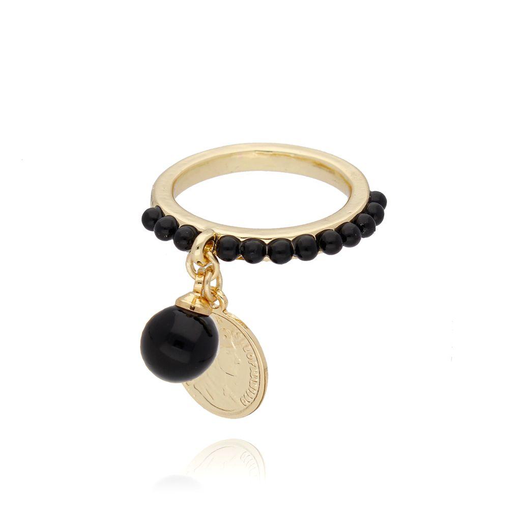 Pierścionek ze złotą monetką i czarnymi kryształkami PRG0104 rozmiar 15