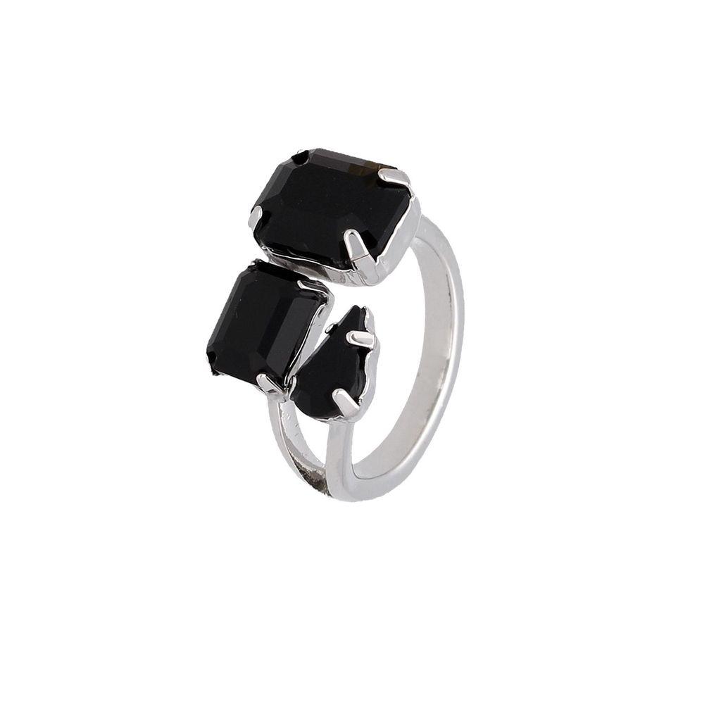 Pierścionek srebrny z czarnymi kryształami PRG0163 rozmiar10