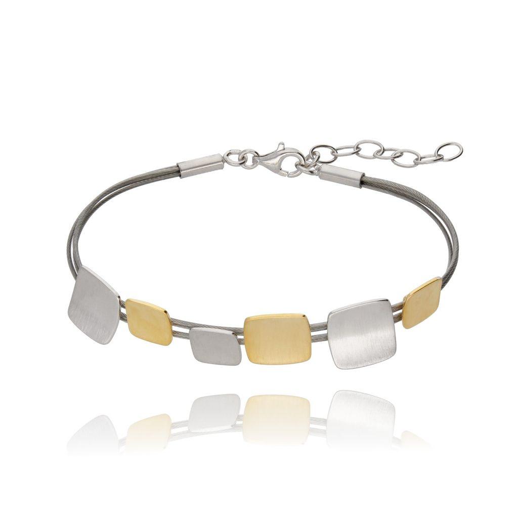 Bransoletka srebrna- pozłacana szczotkowana BSE0069