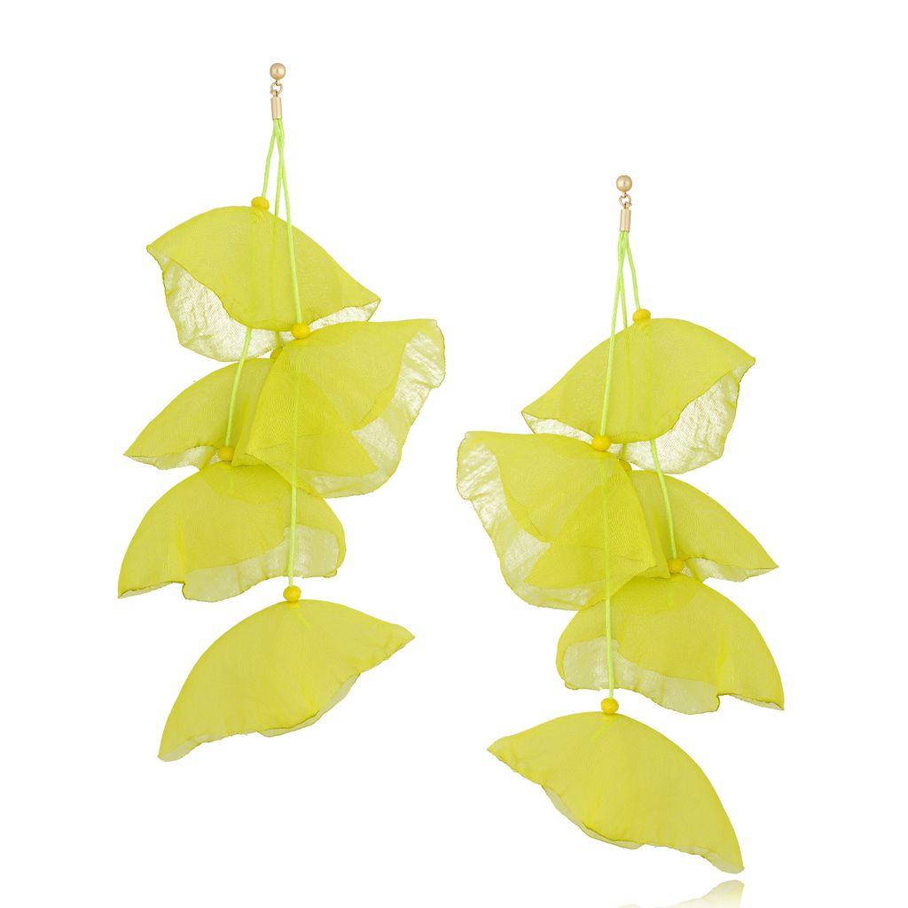 Kolczyki jedwabne kwiaty neonowe żółte KBL0651