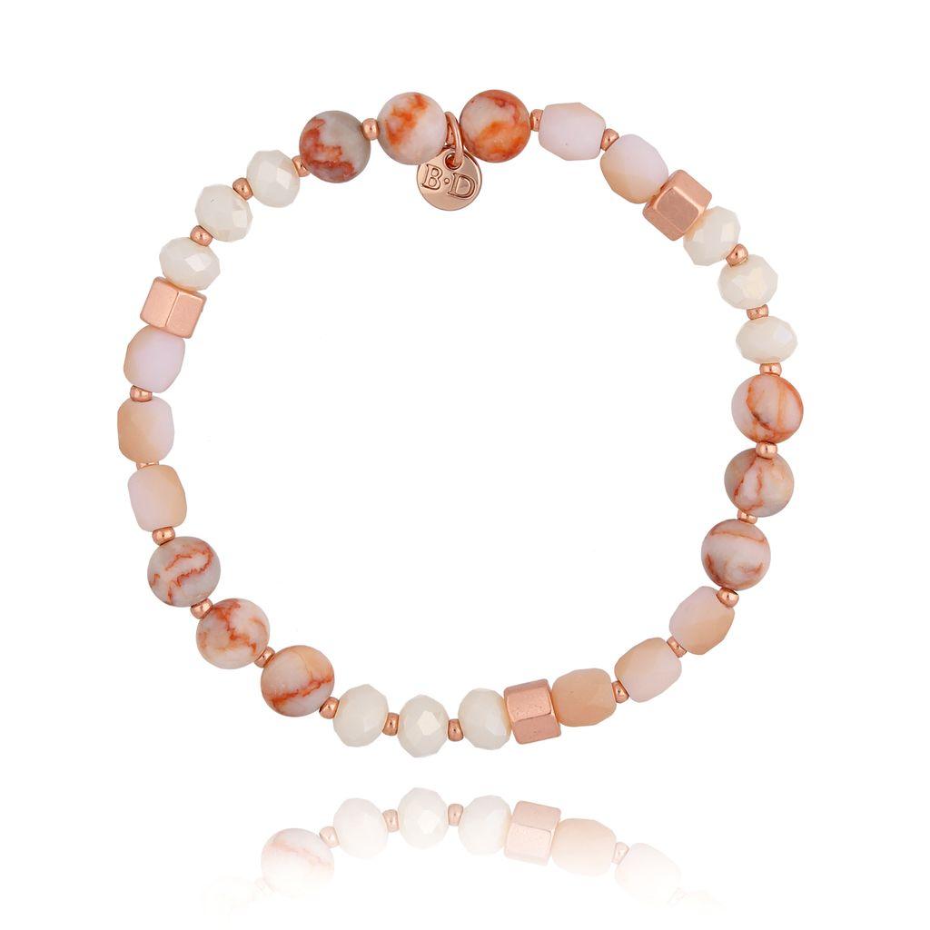 Bransoletka z kryształkami brzoskwiniowa BSC0822