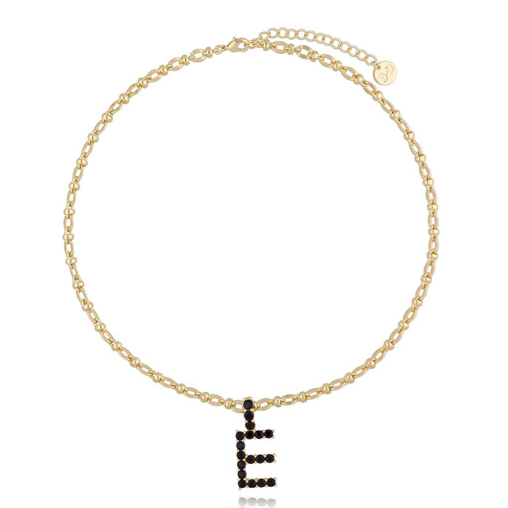 Naszyjnik złoty łańcuch z literą E NRG0226