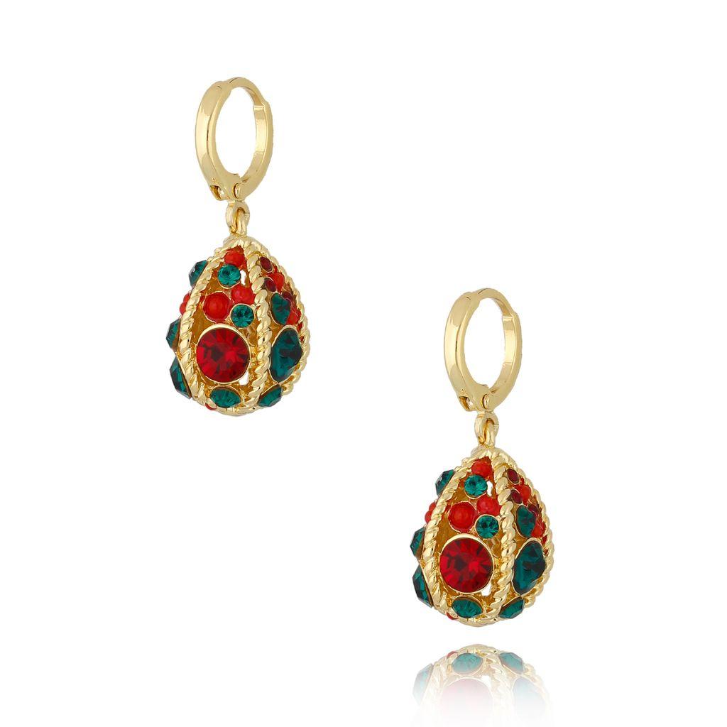 """Kolczyki """"jajka Faberge"""" zielono czerwone  KRG0670"""