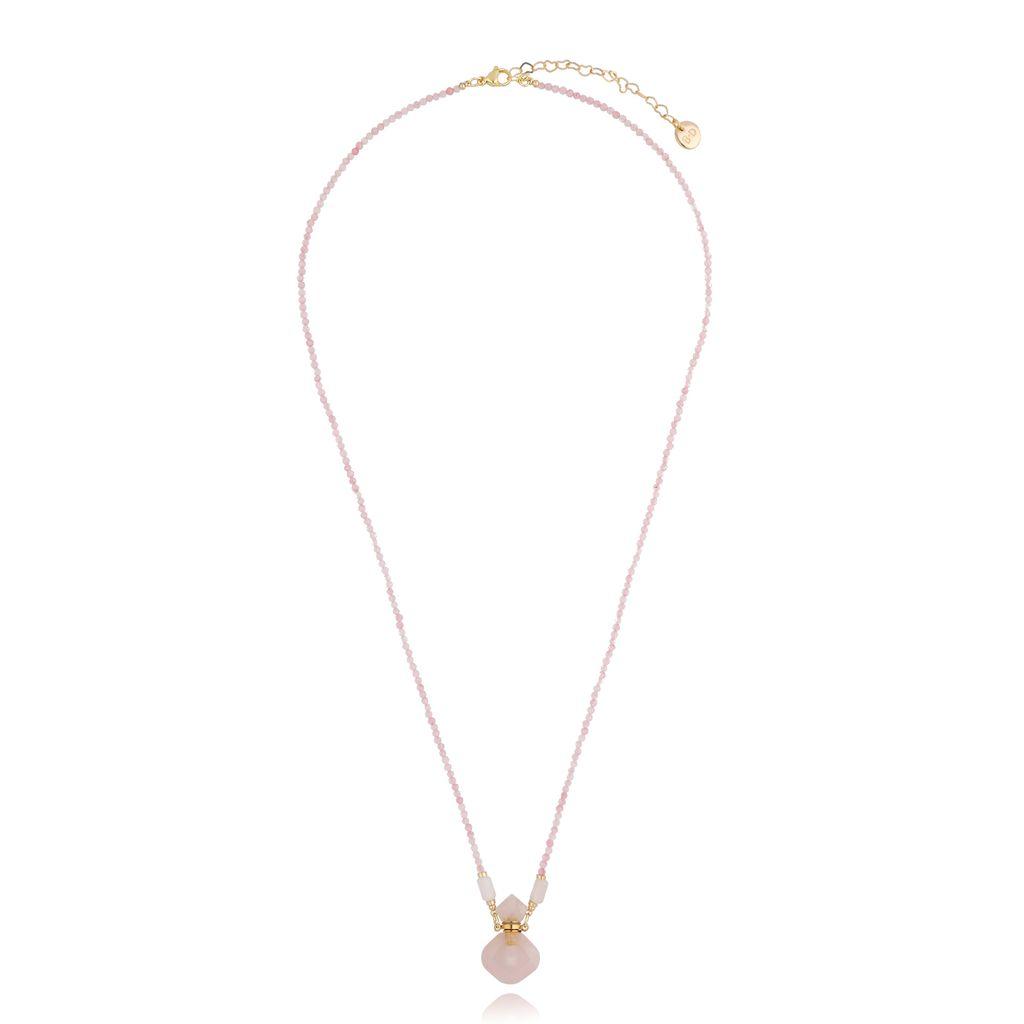 Naszyjnik perfumetka z kwarcem różowym NPA0188