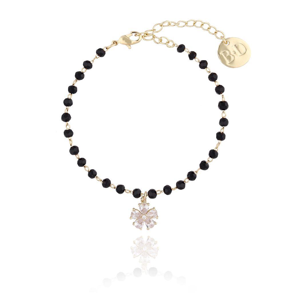 Bransoletka złota z czarnymi kryształkami i kwiatuszkiem BMU0011