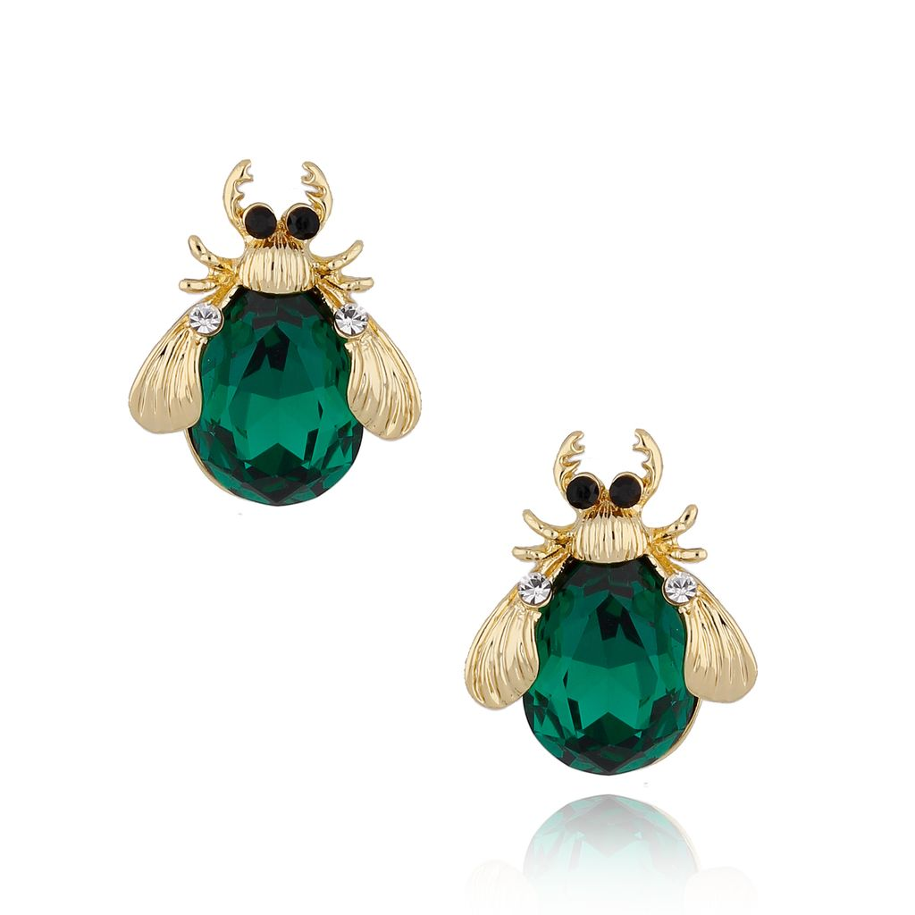 Kolczyki złote żuki z zielonymi kryształkami KMI0107