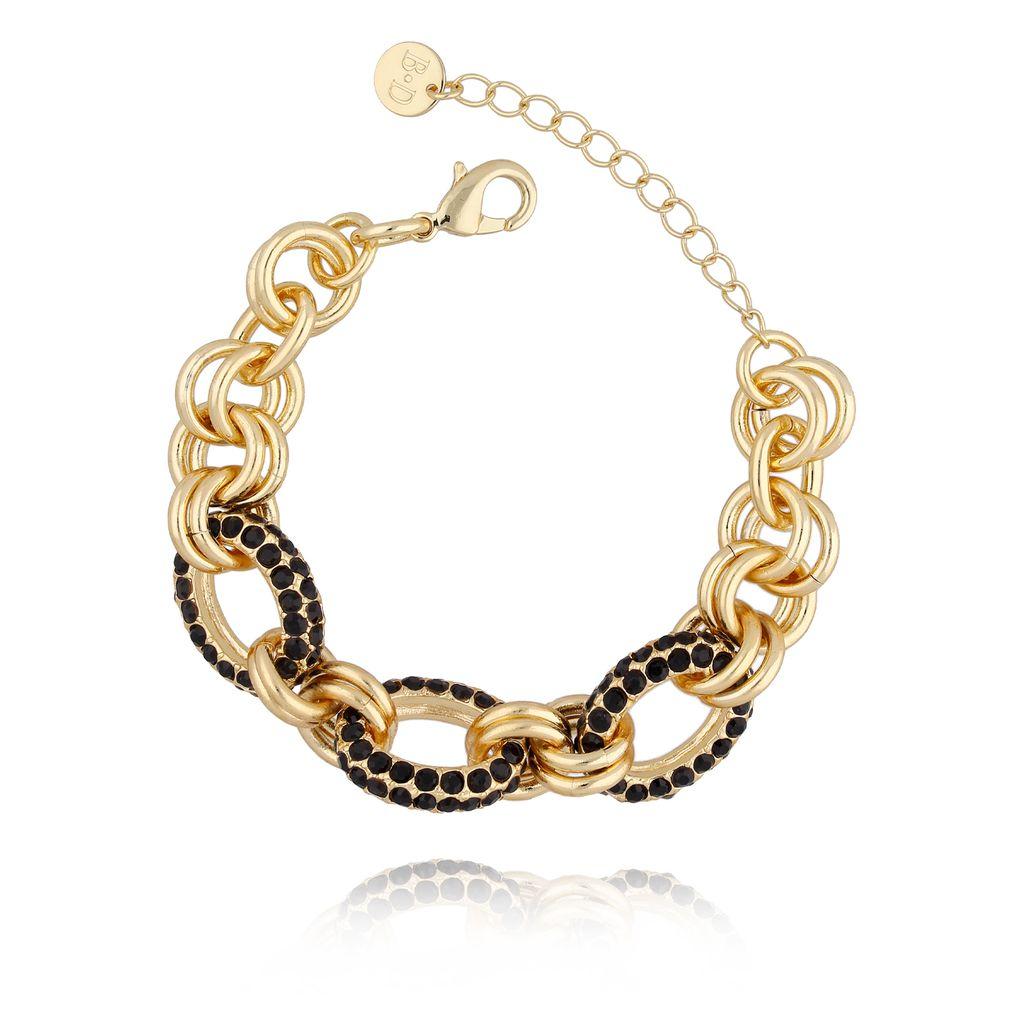 Bransoletka złota z czarnymi cyrkoniami BRG0168