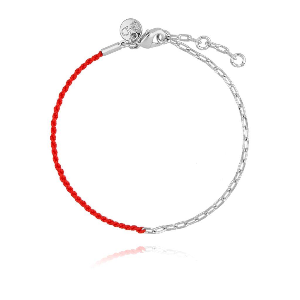 Bransoletka z czerwonym sznurkiem i srebrnym łańcuszkiem BLB0124
