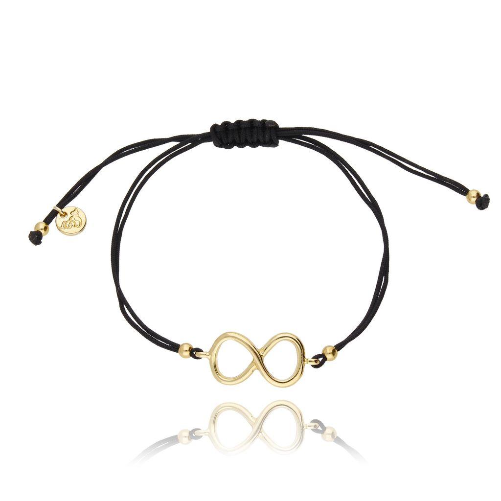 Bransoletka na sznurku czarna - złota nieskończoność BGL0417