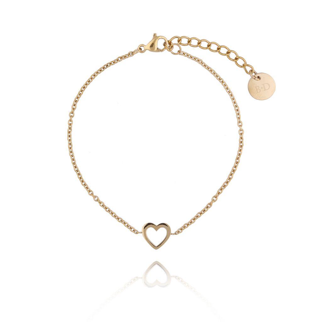 Bransoletka złota z sercem ze stali szlachetnej BSA0096