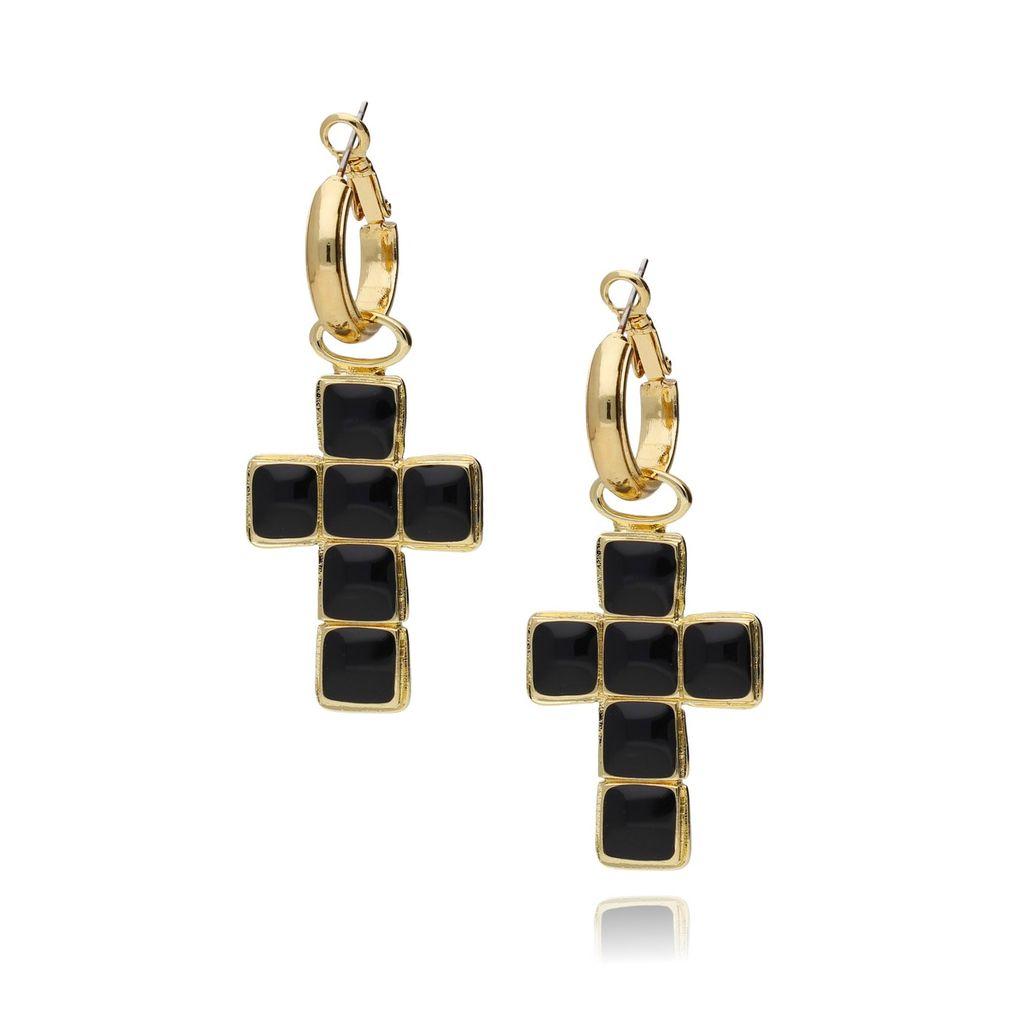 Kolczyki złote z czarnym krzyżem KU0006