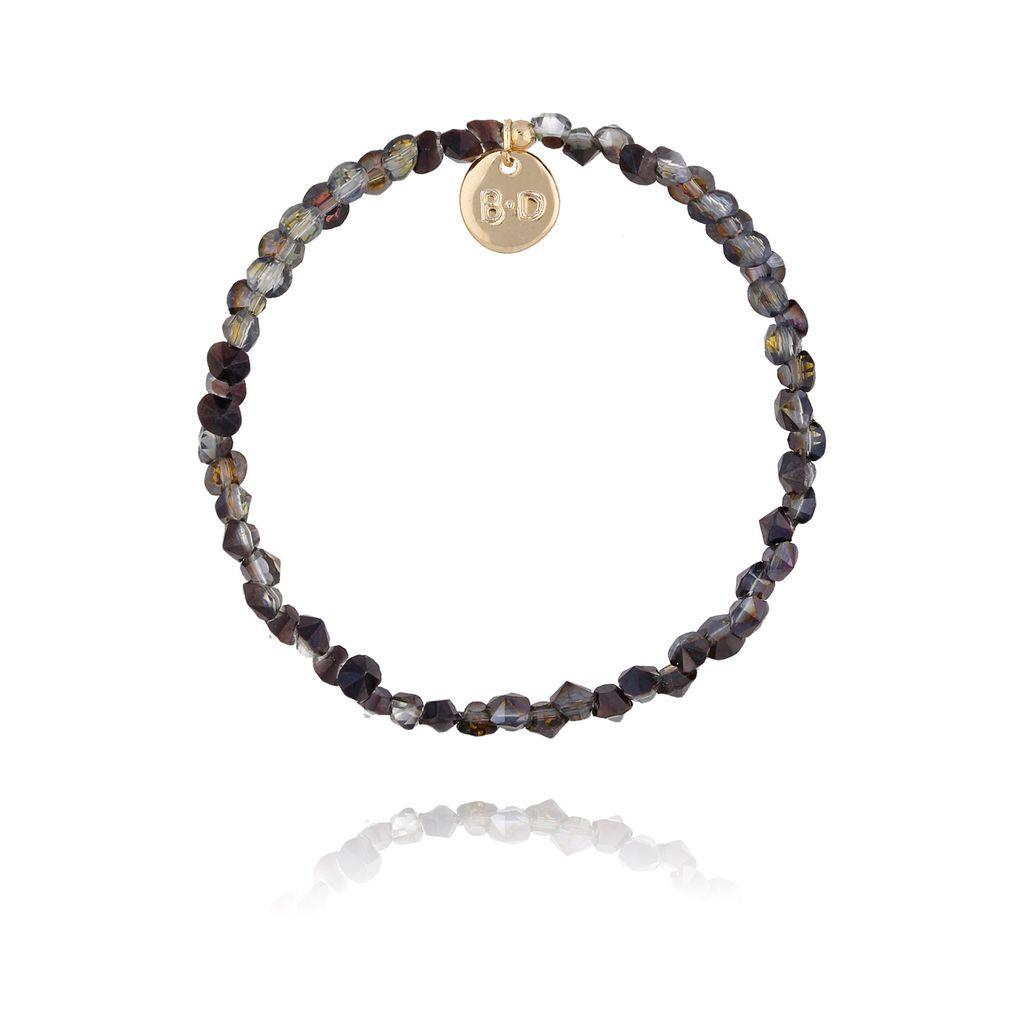 Bransoletka z ciemno szarymi połyskującymi kryształkami BTW0235