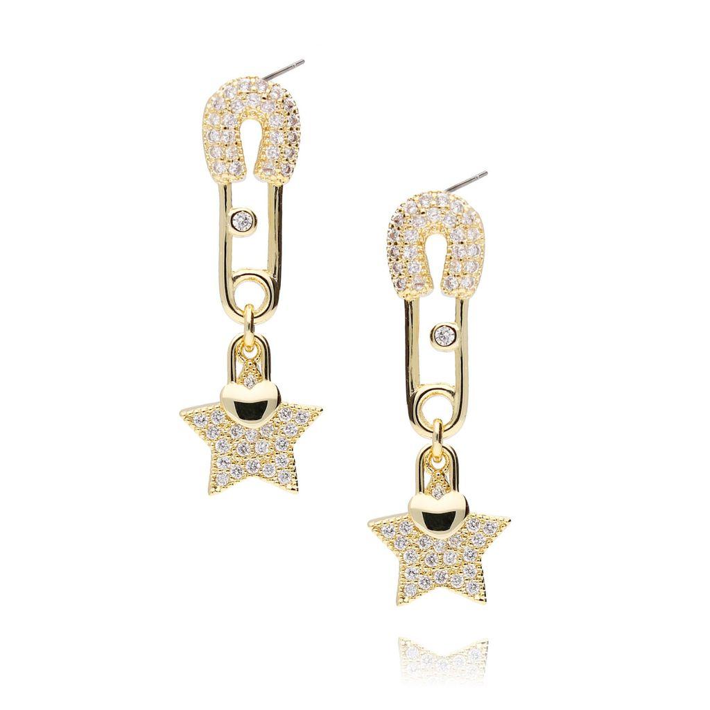 Kolczyki złote gwiazdki z cyrkoniami KRG0448