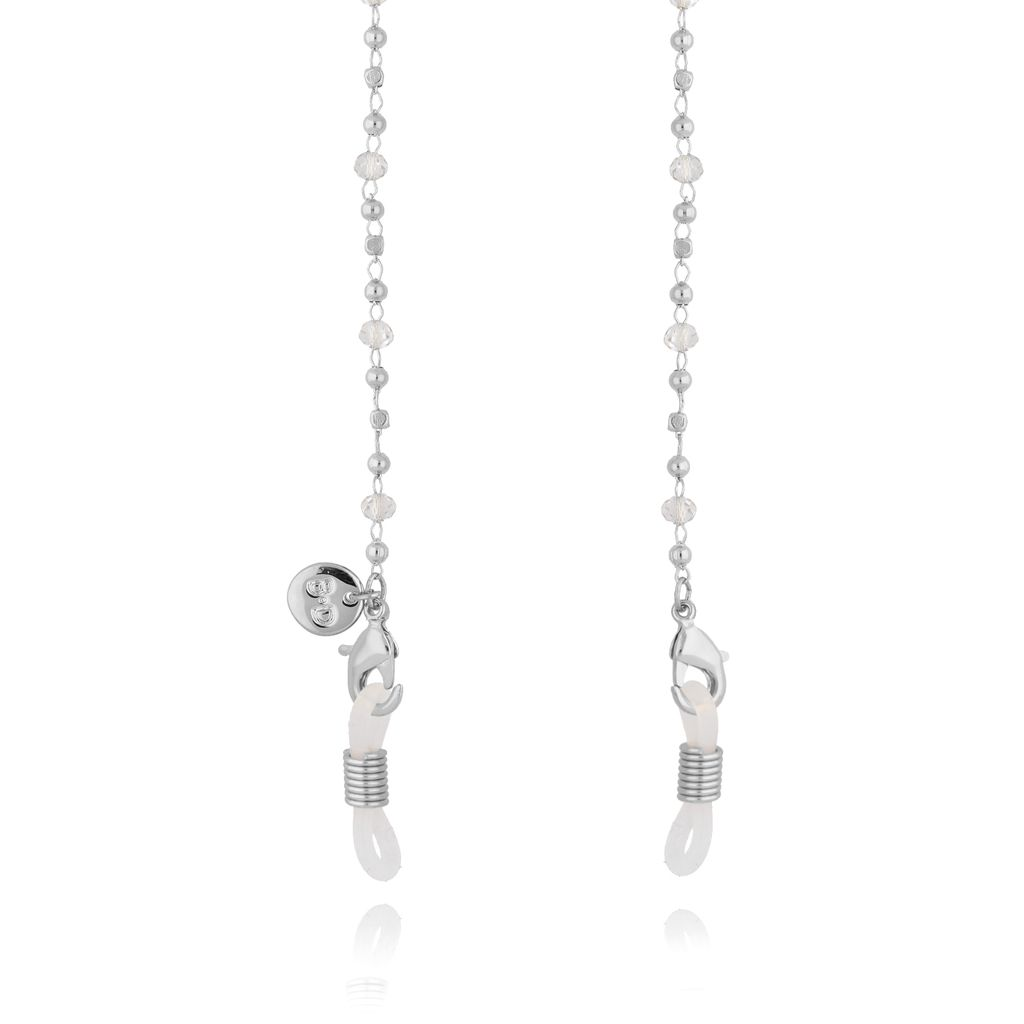 Łańcuszek do okularów srebrny z transparentnymi kryształkami NOA0055
