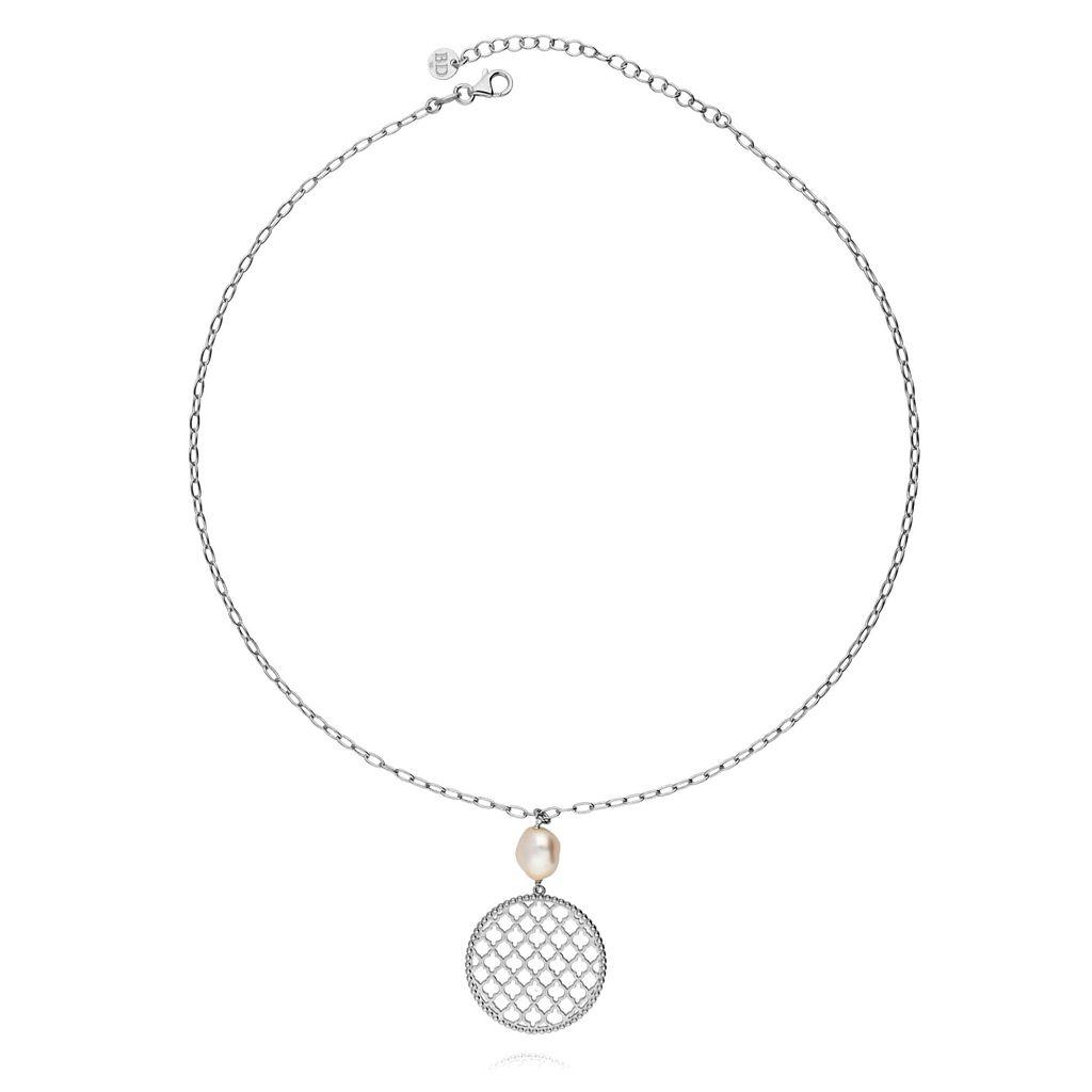 Naszyjnik srebrny rozeta z perłą NCI0047
