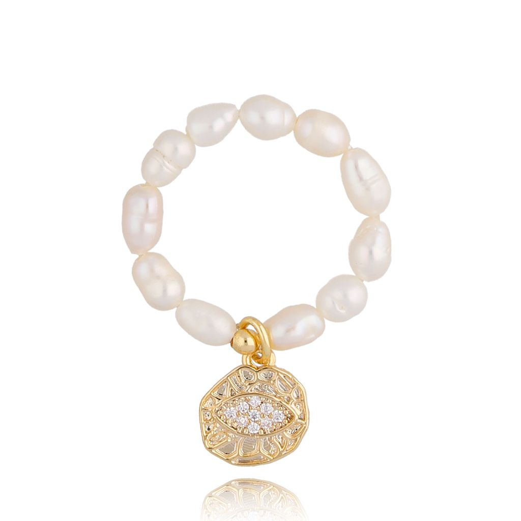 Pierścionek elastyczny z perełek z okiem PPE0036