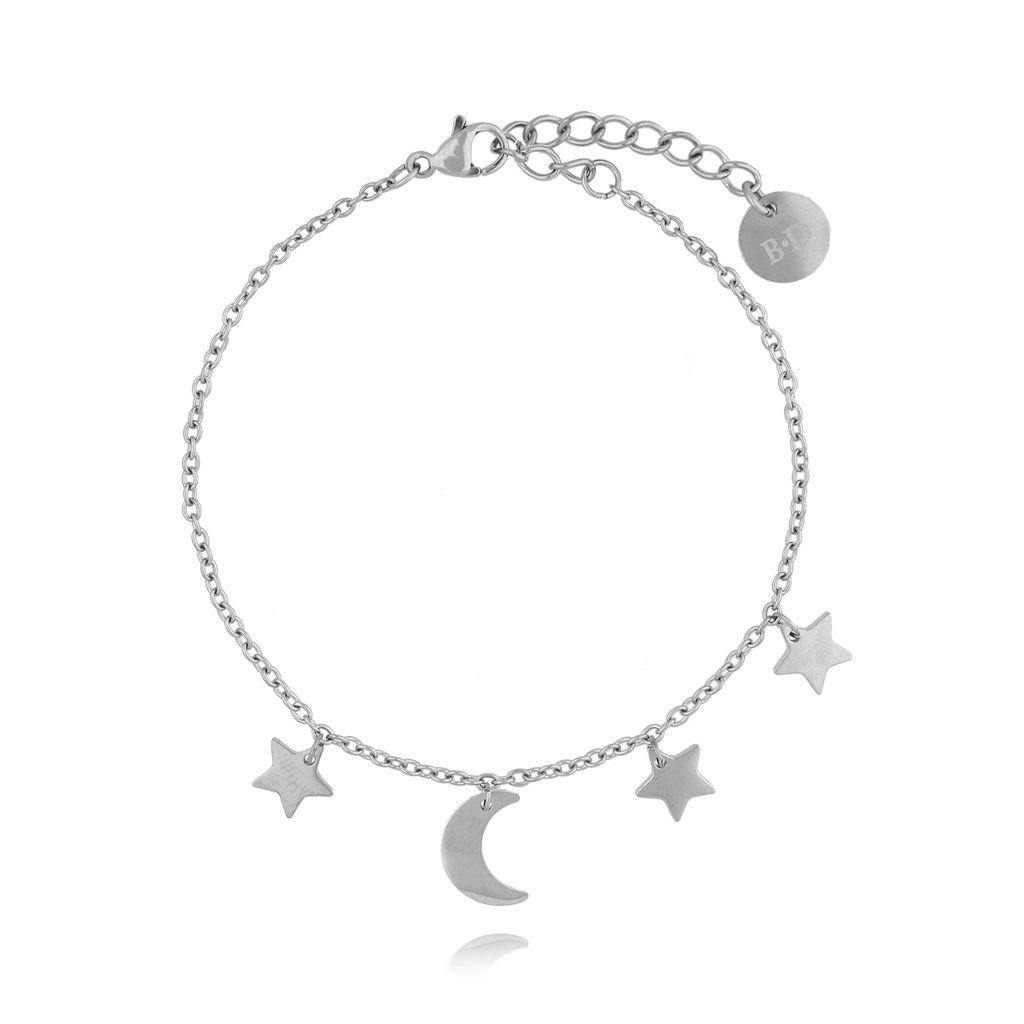 Bransoletka srebrna z gwiazdkami i księżycem ze stali szlachetnej BSA0049