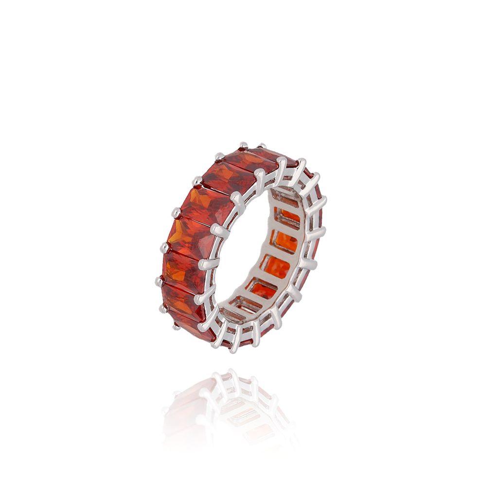 Pierścionek srebrny z czerwonymi kryształkami PRG0069 rozmiar 13