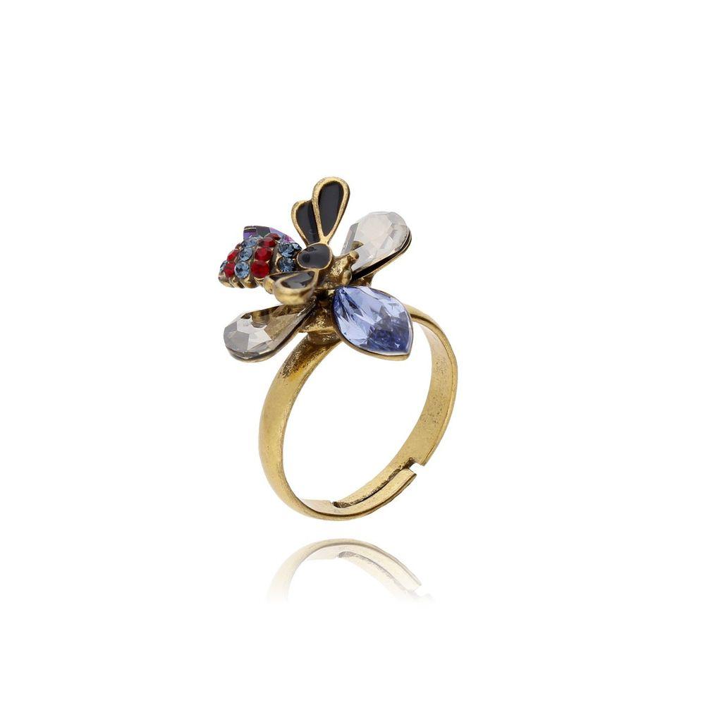 Pierścionek złota pszczoła z kryształkami PMI0070