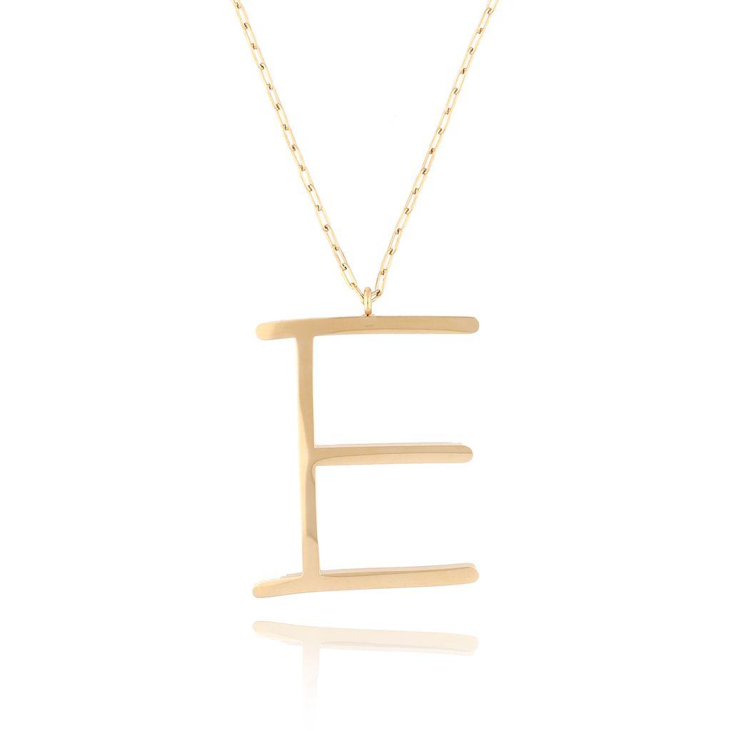 Naszyjnik ze stali szlachetnej złoty literka E Alphabet NAT0020