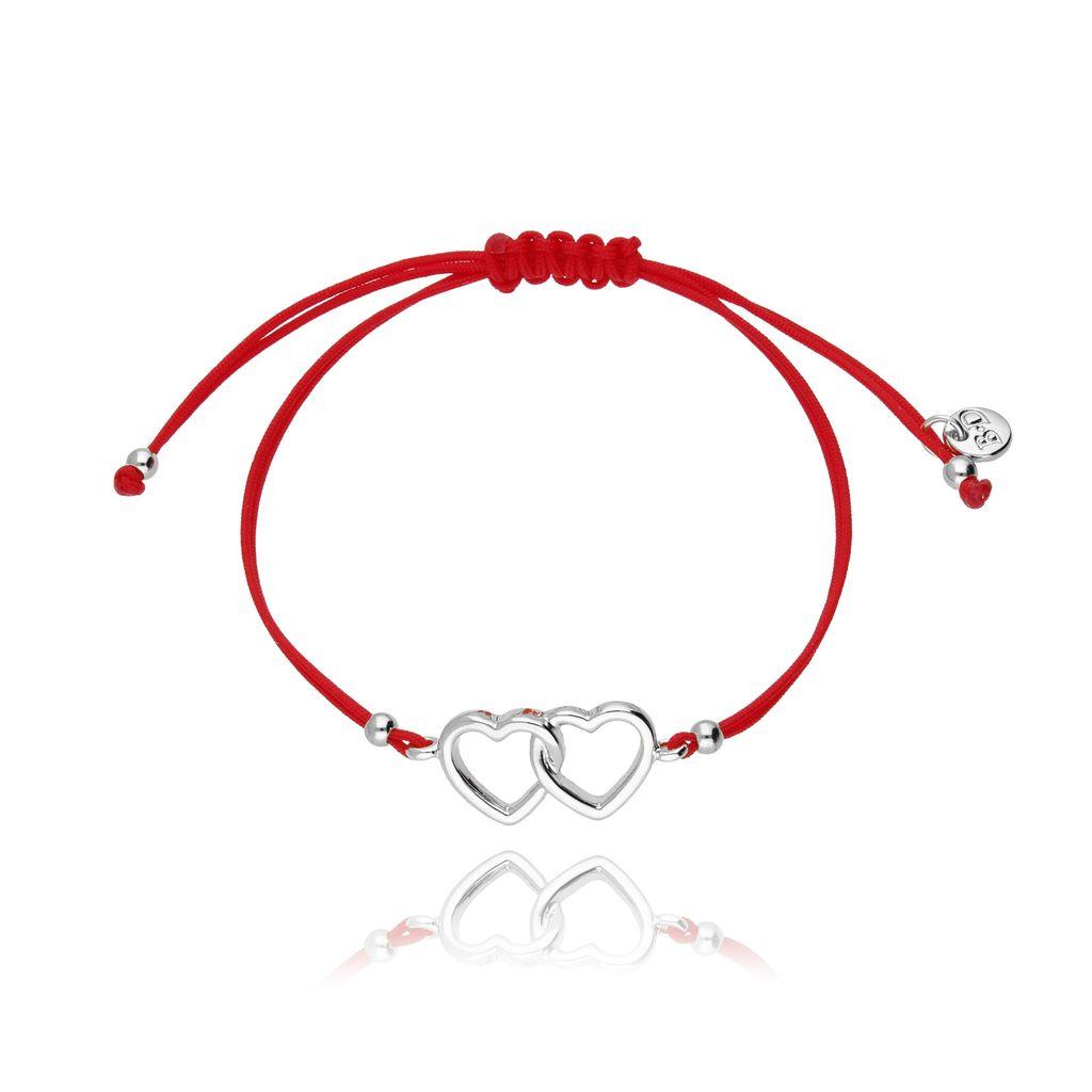 Bransoletka na sznurku czerwona - srebrne serca BGL0421