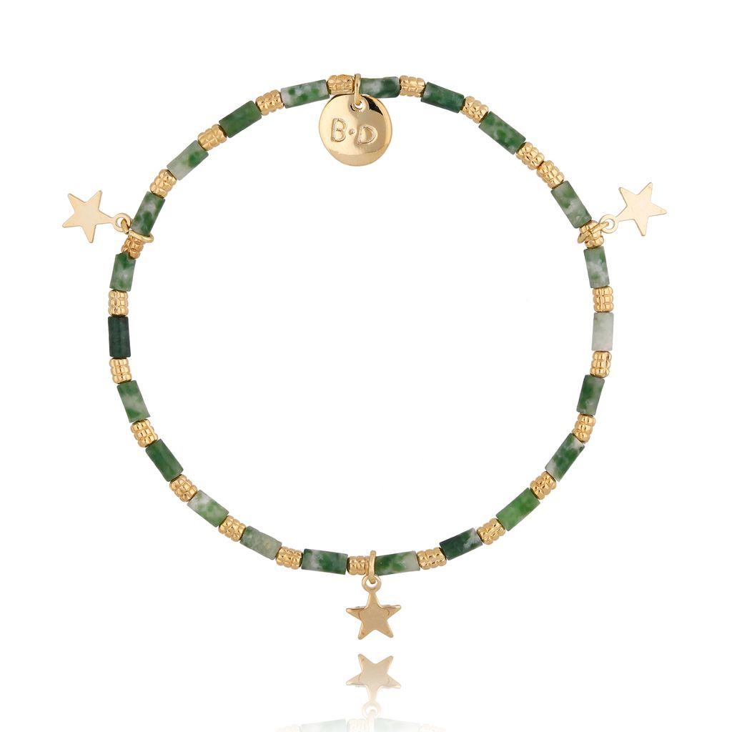 Bransoletka zielona  z gwiazdkami BTW0378