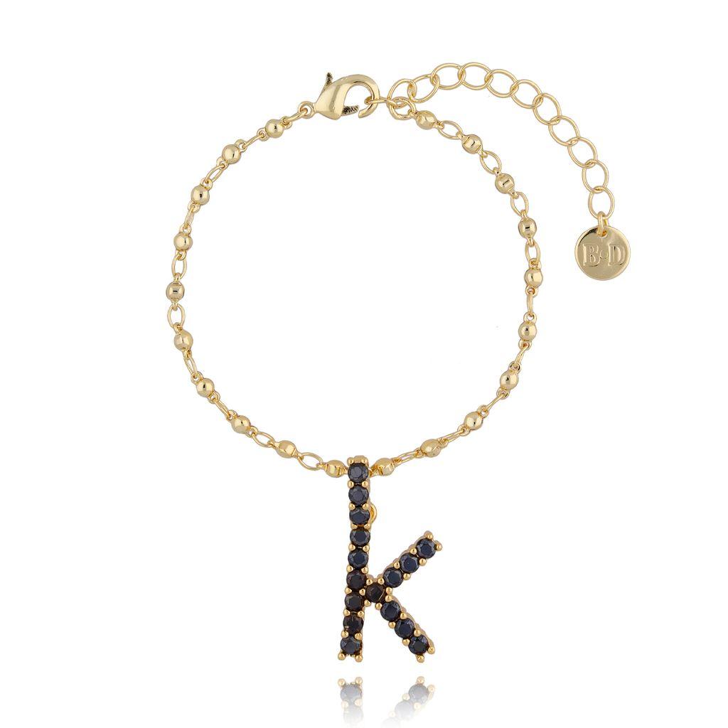 Bransoletka złoty łańcuch z zawieszką litera K BRG0144