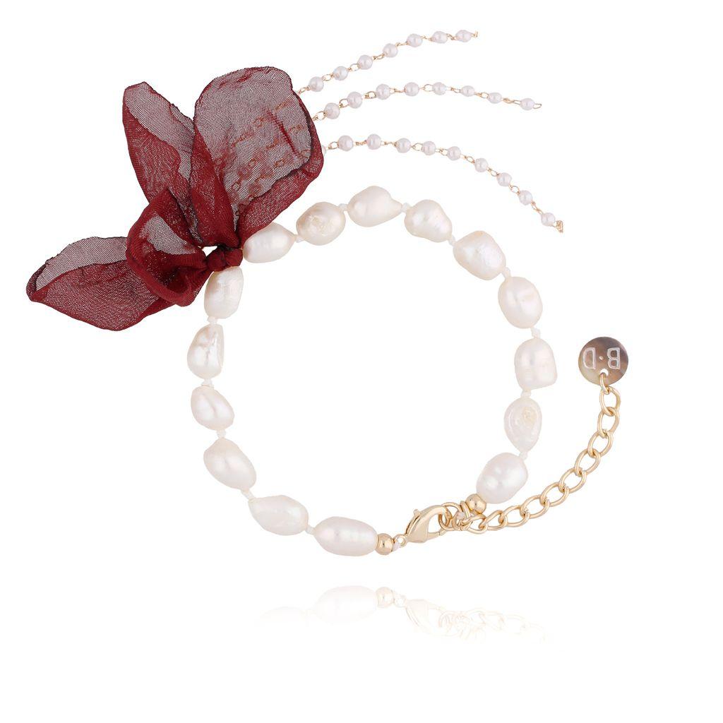 Bransoletka z perłami i z bordowym kwiatem  BBL0069