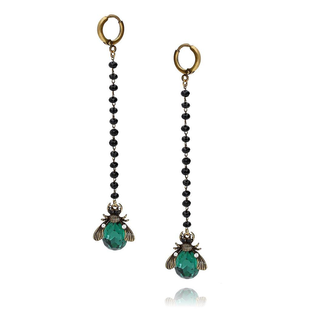 Kolczyki zielony żuk z kryształkami długie KMI0074